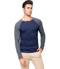 blusa manga longa tony menswear raglan em malha flamê azul marinho