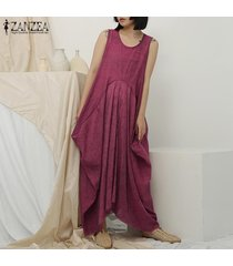 zanzea crew mujeres sin mangas vestido de cuello del verano del algodón holgado vestido maxi largo plus -rojo
