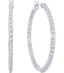diamond accent large thin hoop earrings in fine silver plate