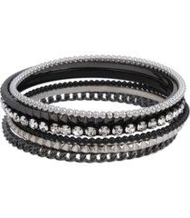 mixed chain bangle bracelet set, 6 piece