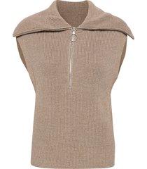 nola knit vest vests knitted vests beige second female