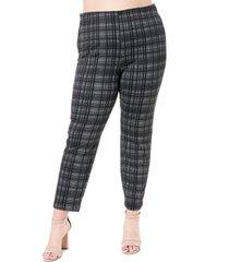 plus size women's single thread plaid ponte pants, size 1x - black
