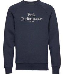 m original crew sweat-shirt trui blauw peak performance