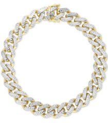 two-tone wide curb link hollow bracelet in 10k gold & 10k white gold