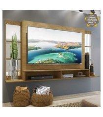 """painel tv 60"""" c/ suporte, espelho e nichos tókio multimóveis louro freijó"""