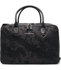 emporio armani camouflage-print leather tote bag - black