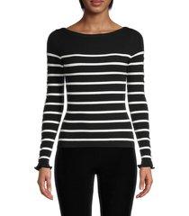 bailey 44 women's alana stripe sweater - black multi - size l