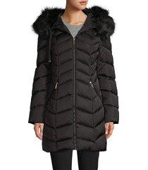 tahari women's faux fur-trim chevron puffer down coat - merlot - size m