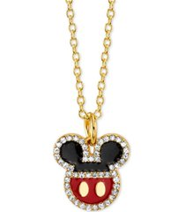 "disney mickey mouse crystal pendant necklace in gold-plate, 16"" + 2"" extender"