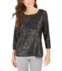 jm collection petite printed metallic jacquard top, created for macy's