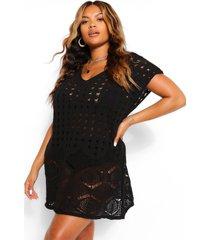plus mouwloze gehaakte strand jurk, zwart