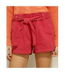 short clochard de sarja cintura baixa com faixa para amarrar vermelho