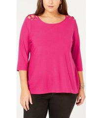 belle by belldini plus size cutout-shoulder top