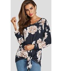 blusa de manga larga con cuello en v y estampado floral al azar en azul marino