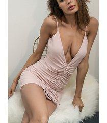 rosa fruncido sin respaldo con cordones diseño deep v cuello correa de espagueti vestido