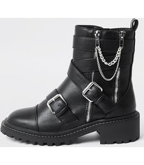river island womens black faux leather chain buckle boots