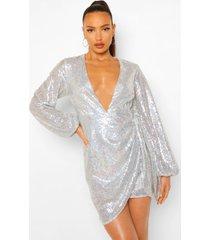 tall mini wikkel jurk met pailletten en ballonmouwen, silver