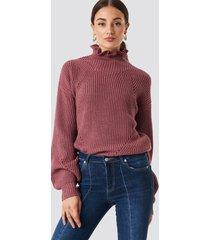 rut&circle frill neck sweater - pink