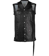 rick owens distressed sleeveless jacket - black