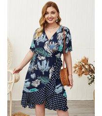 plus talla azul marino ribete con volantes escote en v tropical mangas cortas vestido