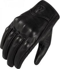 guantes moto icon en cuero liso con dedo tactil color xl