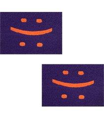 2 capachos p/ porta decorativo 60x40cm smile23 - roxo - feminino - dafiti