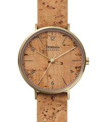 skagen aaren naturals cork leather alternative strap watch, 36mm in beige at nordstrom