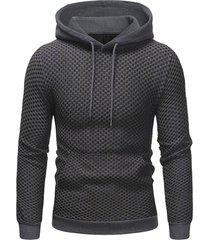 contrast kangaroo pocket pullover textured hoodie