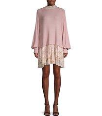 textured mixed-media sweater dress