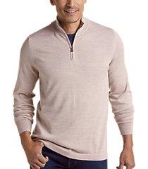 joseph abboud brown 37.5® technology 1/4 zip mock neck modern fit sweater