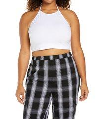 plus size women's bp. halter crop top, size 4x - white