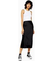black satin split bias midi skirt - black