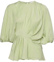 cora, 1110 viscose twill blouses short-sleeved grön stine goya