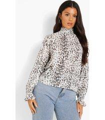 doorschijnende luipaardprint blouse met hoge hals, white