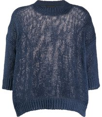 roberto collina chunky-knit crew neck top - blue
