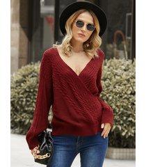 yoins frente cruzado diseño suéter de manga larga con cuello en v