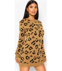 petite luipaardprint trui jurk, camel