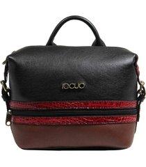 bolsa mochila de couro recuo fashion bag preto/goiaba