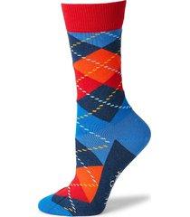 happy socks men's argyle geometric-print mid-calf socks - navy red - size 10-13