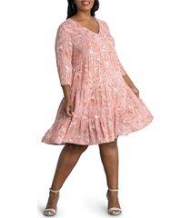 kiyonna issy leaf print tiered tunic babydoll dress, size 2x in burnt sienna at nordstrom