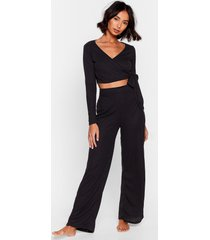 womens that's a wrap wide-leg pants lounge set - black
