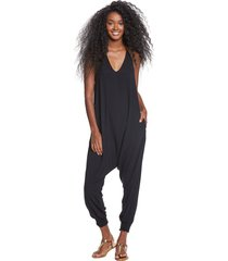 buddha pants women's harem jumpsuit - black xx-small cotton