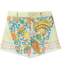flower swirl paneled shorts
