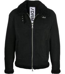 drome belted-neck aviator jacket - black