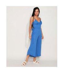 macacão feminino pantacourt com faixa para amarrar alça fina azul
