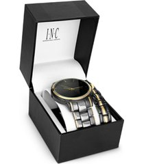 inc men's two-tone bracelet watch 36mm gift set, created for macy's