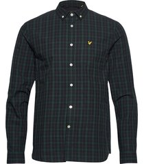 check poplin shirt skjorta casual blå lyle & scott