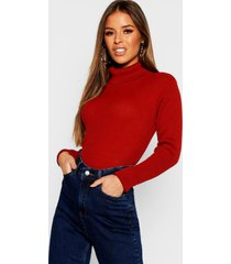 petite rib knit roll neck sweater, rust