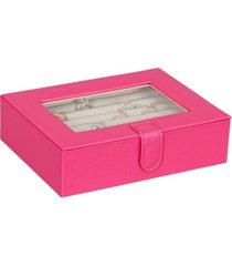 mele co. cole glass top fashion jewelry box and ring case in textured magenta vegan leather