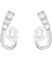 orecchini in argento 925, perle e zirconi per donna